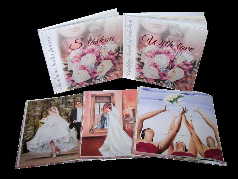 1. Svadobná kniha prianí - slovenská a anglická verzia knihy spolu s ukážkami ilustrácií