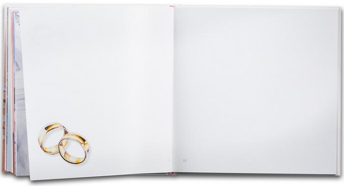 7. Svadobná kniha prianí - ukážka z knihy - voľné strany, určené na odkazy, sú s jemným farebným ladením a malými ilustráciami symbolov svadby