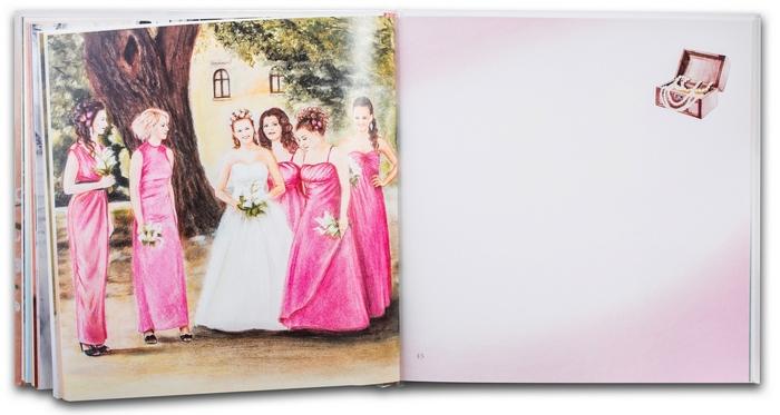 8. Svadobná kniha prianí - Nevesta s družičkami - ukážka ilustrácií