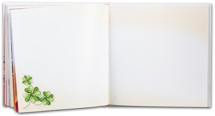 9. Svadobná kniha prianí - voľné strany knihy s jemným farebným ladením a malými ilustráciami symbolov svadby - určené pre hostí a ich odkazy